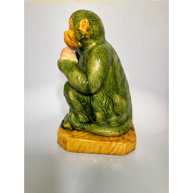 Late 20th Century Glazed Ceramic Monkey Figure For Sale - Image 5 of 8