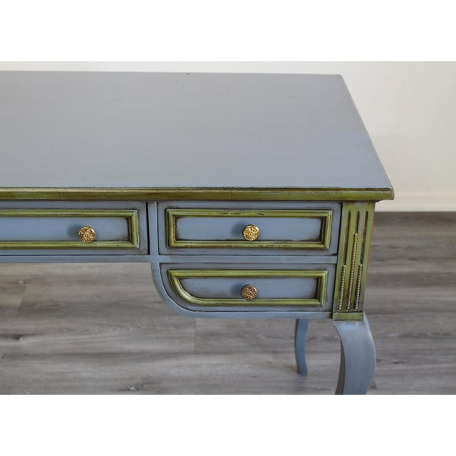 1960s Mid Century Blue Painted Desk For Sale - Image 5 of 10