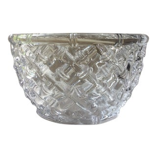 Tiffany Bamboo Pattern Crystal Large Salad Bowl For Sale