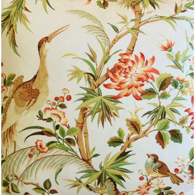 """Chinoiserie Floral Birds & Crane Feather/Down Pillows 24"""" Square - Pair For Sale - Image 4 of 13"""