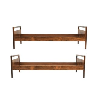 Mid-Century Danish Modern Rosewood Twin Size Bed Frame - A Pair For Sale