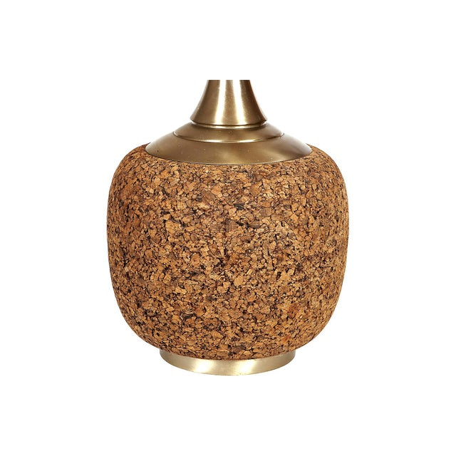 Vintage eye-catching lamp by Laurel Lamp Company. Chunky round cork base with striking long gold metal neck. Original...