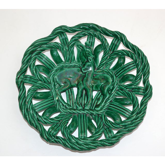 Vallauris France Glazed Woven Ceramic Basket Emerald Green Bambi 1955, Pottery For Sale - Image 13 of 13