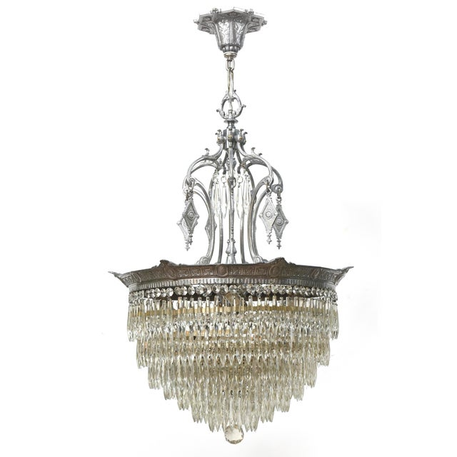 Tiered Crystal Four Light Fixture For Sale - Image 11 of 11