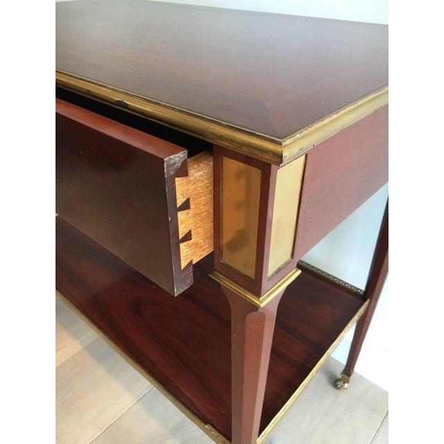 Mahogany and Brass Console Table Attributed to Maison Jansen - Image 7 of 11