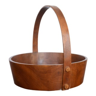 1950s Mid-Century Modern Signed Whittaker Wooden Bowl With Steam-Bent Handle For Sale