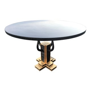 Round Sculpted Gilt Iron Granite Top Dining or Entry Table