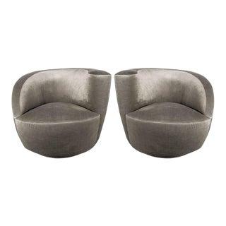 "Pair of Swiveling ""Nautilus"" Chairs by Vladimir Kagan in Smoked Platinum"