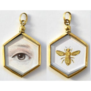 Contemporary Lover's Eye Painting by S. Carson in an Antique French Pendant Locket Preview