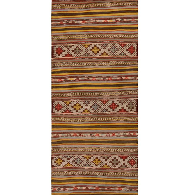 1930s Vintage Helvaci Yellow Multicolor Wool Kilim Rug For Sale - Image 5 of 6