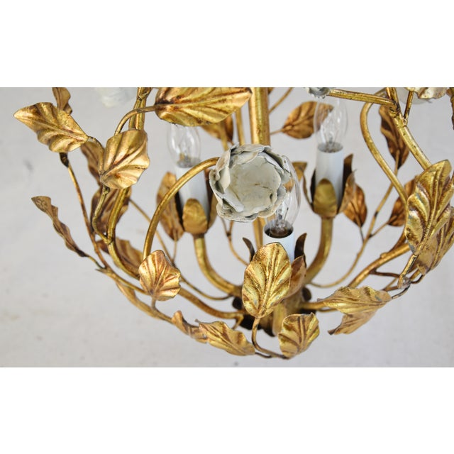 Vintage Three-Arm/Light Italian Gold Gilt Ball Tole Chandelier For Sale - Image 10 of 11