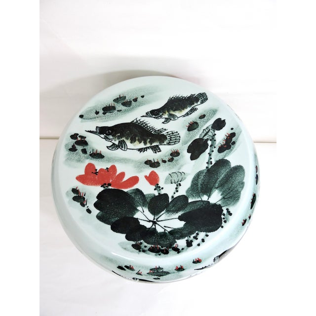 Ceramic Vintage Fish & Lotus Flower Chinese Ceramic Drum Seat or Garden Stool, Side Table, Pedestal For Sale - Image 7 of 8