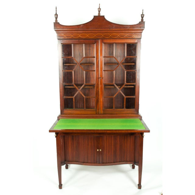 Charak Hand-Carved Mahogany Wood Two Piece Display Cabinet For Sale - Image 9 of 13
