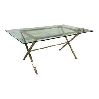 Contemporary Brass & Glass Dining Desk Table For Sale