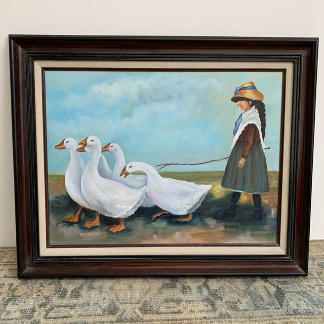 """Canvas Vintage """"Girl Herding Geese"""" Signed Oil on Canvas Framed Painting For Sale - Image 7 of 7"""