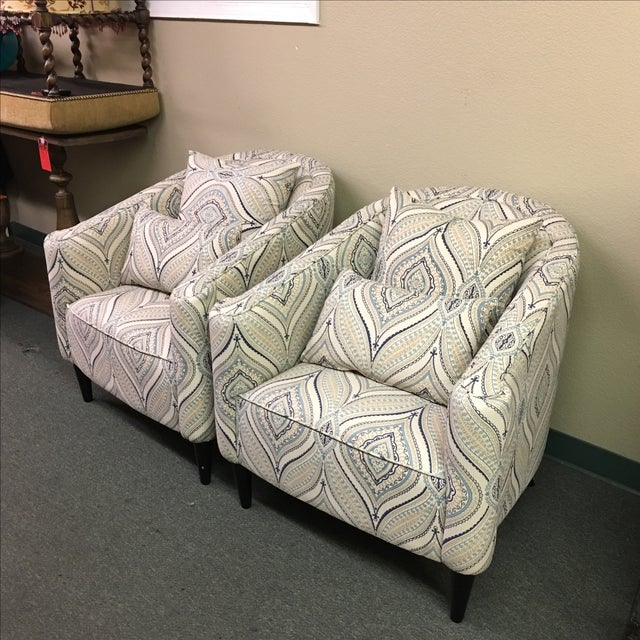 Contemporary Barrel Chairs - A Pair - Image 3 of 9
