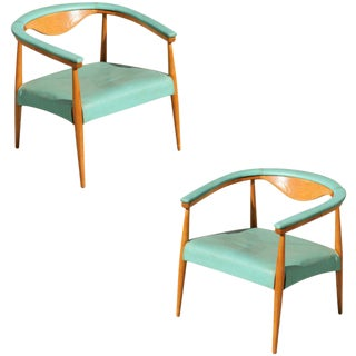 Mid-Century Modern Wegner Inspired Barrel Back Armchairs, Pair For Sale