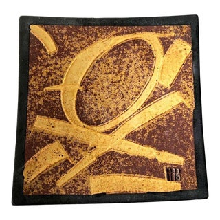 Patrick Horsley Handmade Stoneware Abstract Modernist Graphic Design Tray Wall Art For Sale