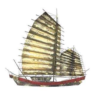 Curtis Jeré Chinese Junk Boat Wall Sculpture For Sale