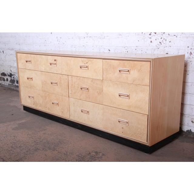 Burl Wood Long Dresser Credenza by Henredon For Sale - Image 13 of 13