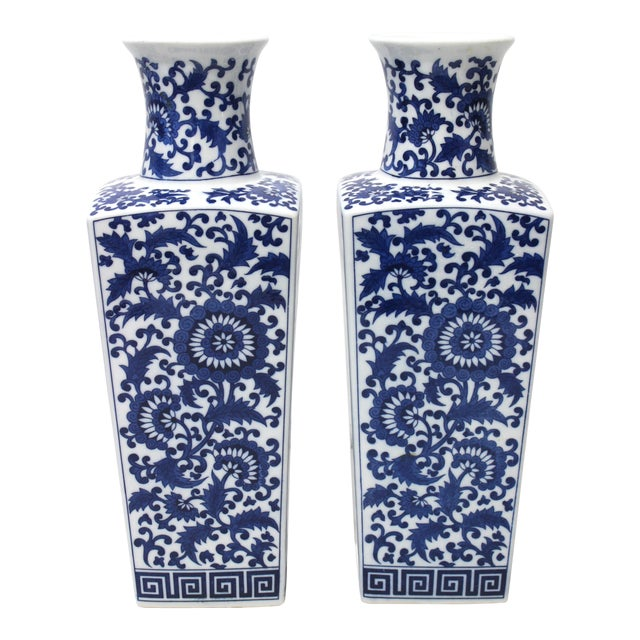 Vintage Blue & White Silk Road Style Vases - a Pair For Sale