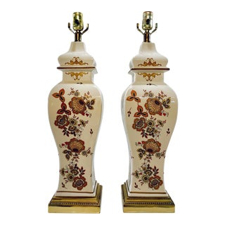 Vintage Chinoiserie Ginger Jar Lamps With Flower Motif - a Pair For Sale
