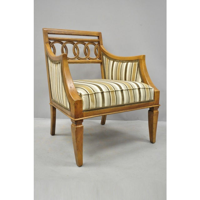 Late 20th Century Vintage Hollywood Regency French Style Carved Spiral Back Arm Chairs- A Pair For Sale - Image 9 of 10