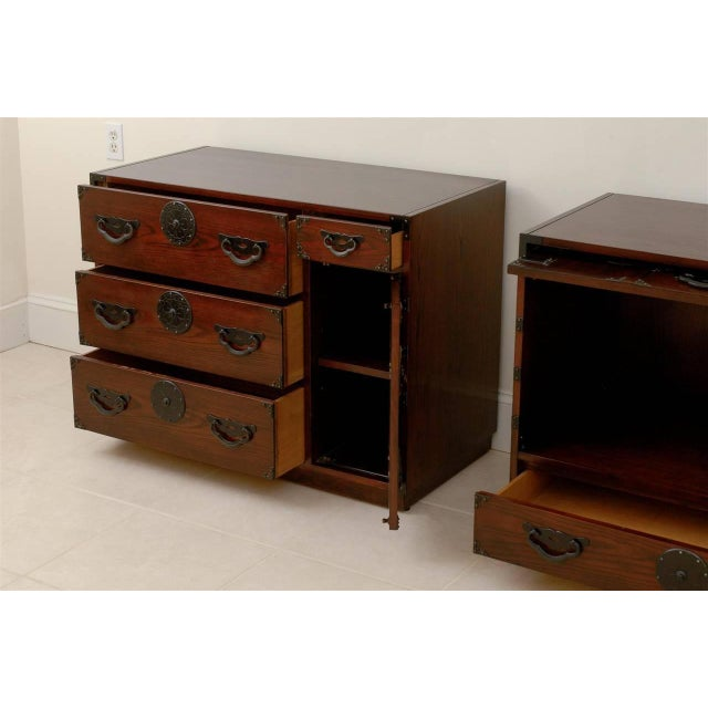 Wood Amazing Pair of Vintage Modern Tansu Chests by Baker For Sale - Image 7 of 10