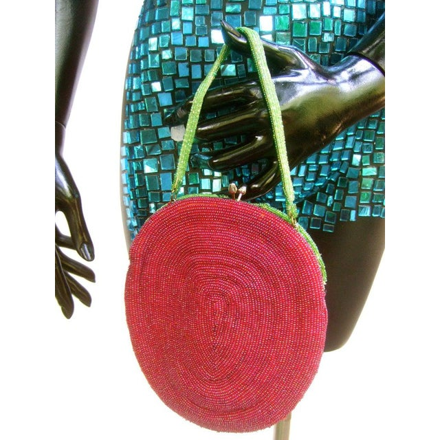 Metal Glass Beaded Strawberry Evening Bag For Sale - Image 7 of 10