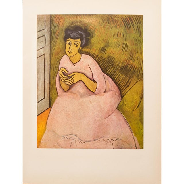 """Lithograph 1954 Raoul Dufy, """"Woman in Rose"""" First Edition Lithograph For Sale - Image 7 of 8"""