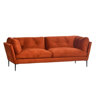 Midcentury Orange Velvet Sofa For Sale