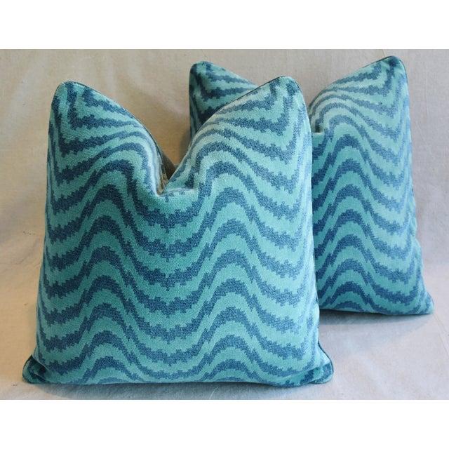 "Schumacher Velvet & Linen Feather/Down Pillows 21"" Square - Pair For Sale - Image 13 of 13"