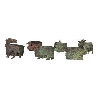 Rustic Nature Theme Metal Napkin Rings- Set of 6 For Sale