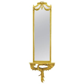 Early 20th Century Italian Giltwood Phoenix Wall Mounted Console and Mirror For Sale