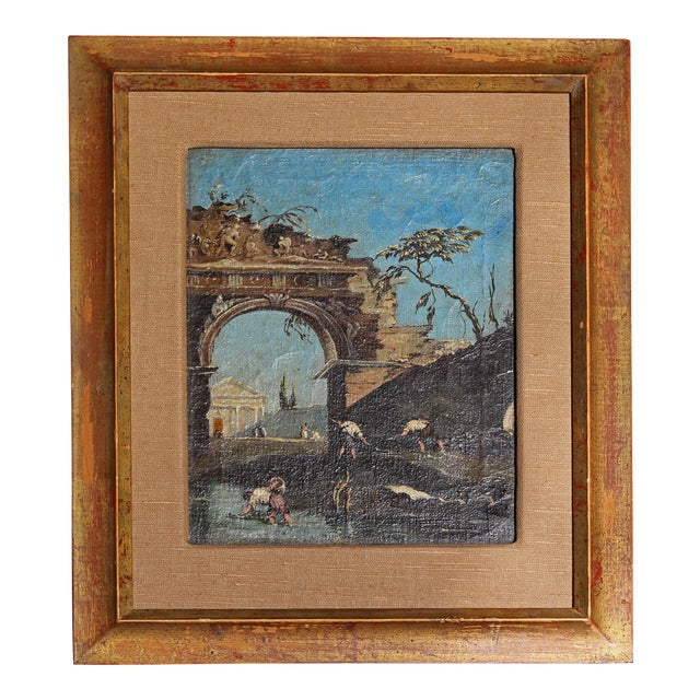 Late 18th Century Oil on Canvas of Ruins & Temple, Italian. For Sale