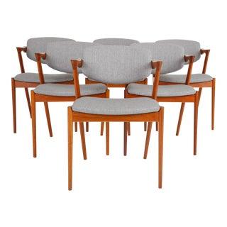 Set of Six Model 42 Teak Dining Chairs by Kai Kristiansen for Schou Andersen