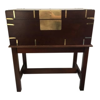Campaign Style Box or Chest on Stand For Sale