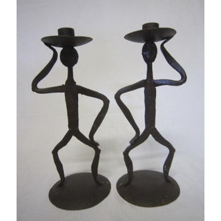 Artisan Iron Candle Holders - A Pair Preview