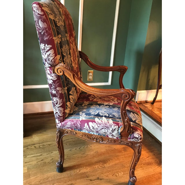 Antique Transitional Style Blue Chair - Image 5 of 5