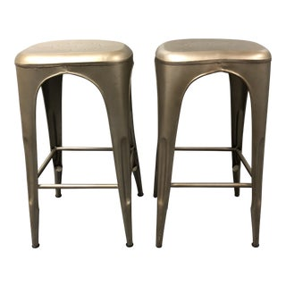 "Restoration Hardware ""Remy"" Backless Bar Stools - a Pair For Sale"