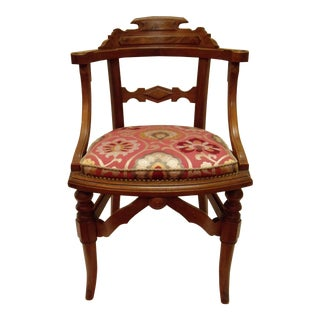 Eastlake Manuel Canovas Fabric Upholstered Mahogany Desk Chair For Sale