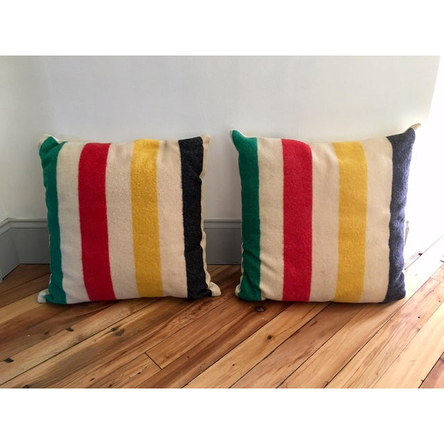 Vintage Authentic Hudson Bay Point Pillows - A Pair - Image 5 of 5