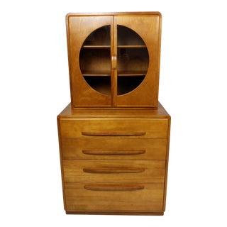 Mid Century Deco Curio Dresser, Highboy For Sale