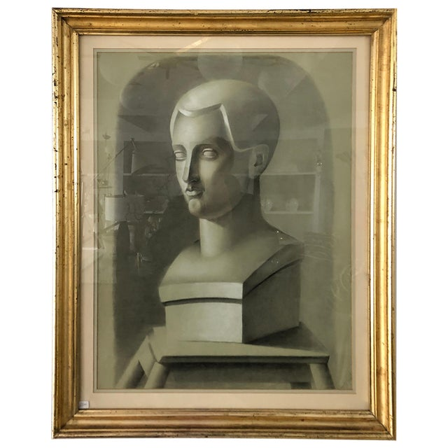 Early 20th Century Vintage Charcoal Portrait in Neoclassic Style For Sale - Image 5 of 5
