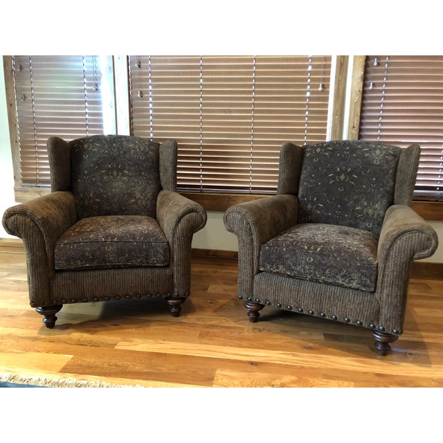 Coffee Modern Paladin Wingback Chairs- A Pair For Sale - Image 8 of 8