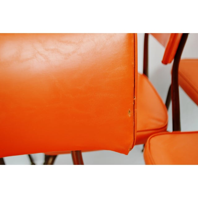 Mid-Century Modern Orange Dining Chairs - Set of 5 - Image 10 of 11