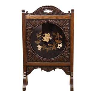 Late 19th Century Carved English Floral Crewel Work Fire Screen For Sale