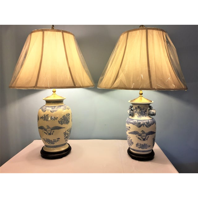 Companionable Chinese Export Style Porcelain Lamps - a Pair - Image 2 of 9