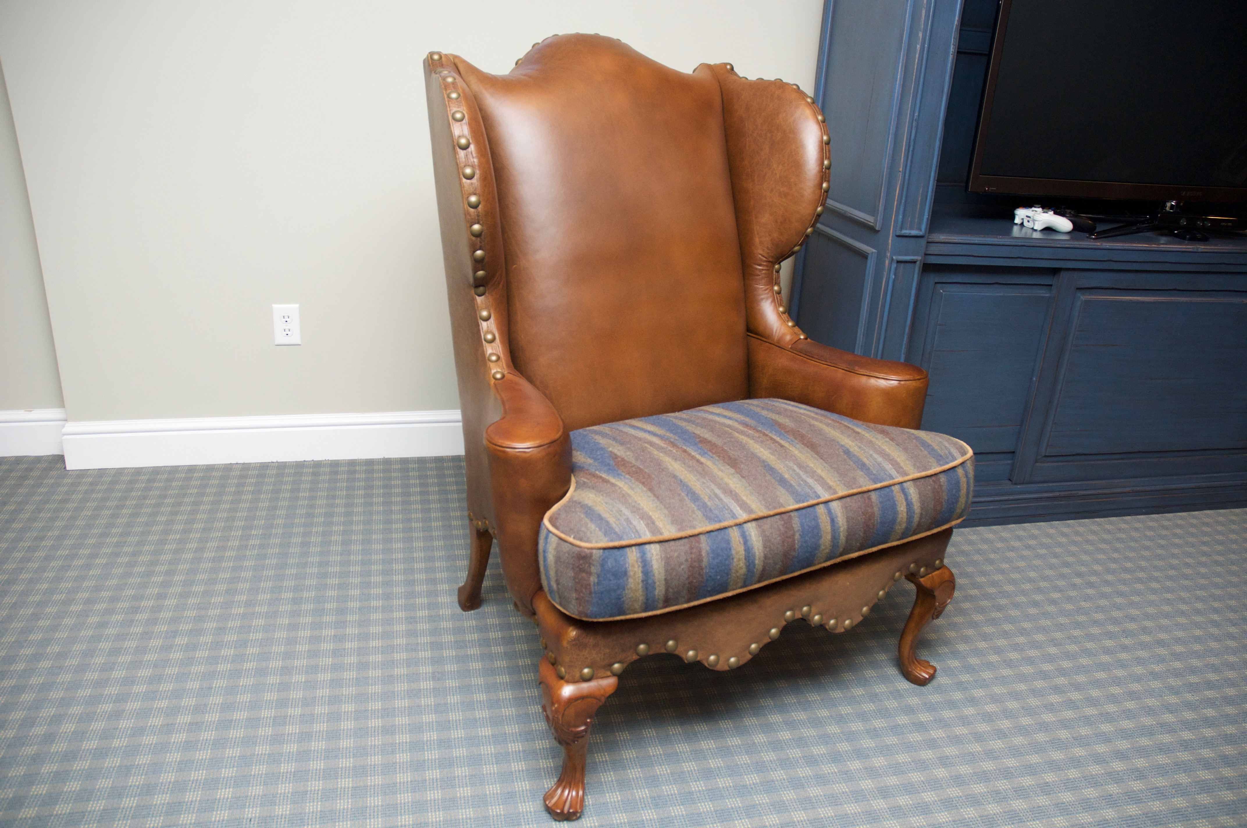 Century Leather Wingback Chair W/ Nailhead Trim   Image 3 Of 8
