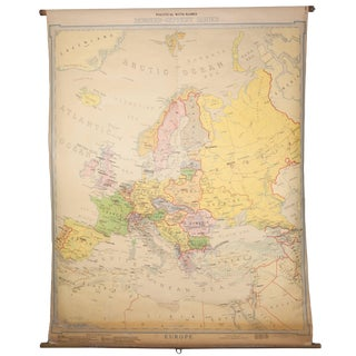 1923 Antique Denoyer-Geppert Linen Cloth School Pull Down Map of Europe With Wooden Dowel For Sale